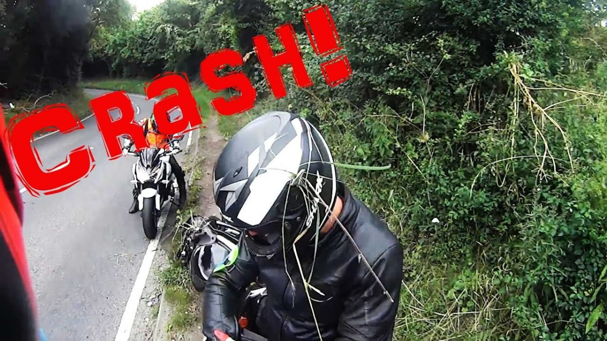 Motorbike crash on first bend on the road